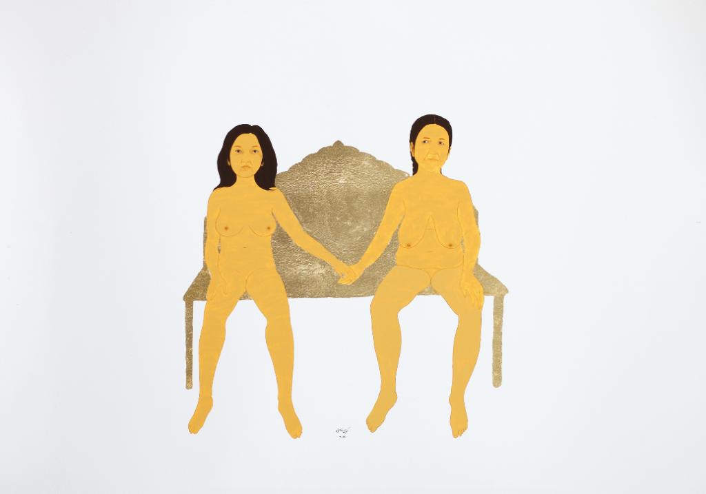 Kubra Khademi,  e Great Accord 2019 76,5 x 100 cm Gouache et feuille d'or sur papier