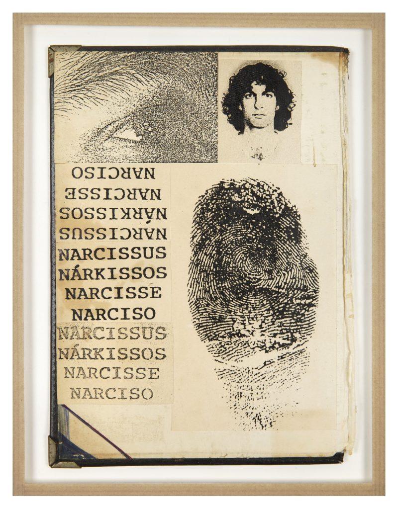 Hudinilson Jr., Narcisse (HJ0064), Photocopie Xerox, collage sur papier carton et tissu, 21 x 15,5 cm